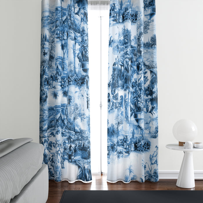 Blue Chinoiserie Window Curtains