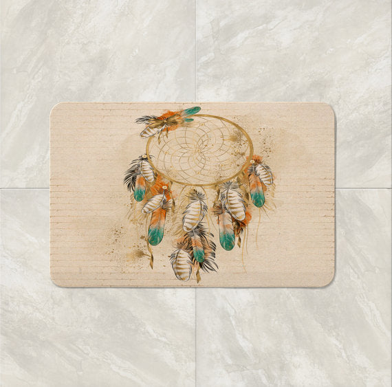 The Boho Chic Beige Dream Catcher Bath Mat