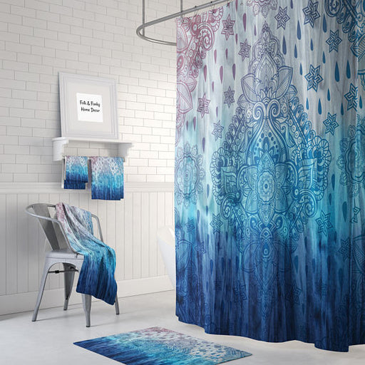 The Boho Chic Blue Tie Dye Shower Curtain