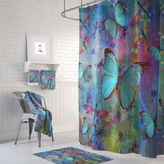 The Boho Chic Butterflies And Dragonflies Shower Curtain