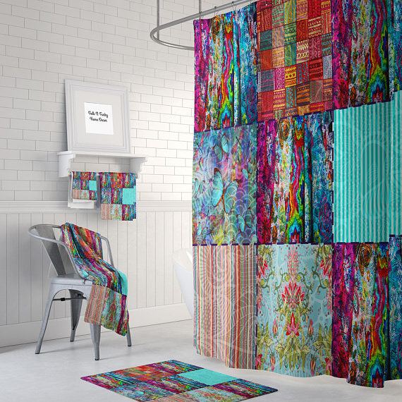 The Boho Chic Gypsy Blocks 2 Shower Curtain