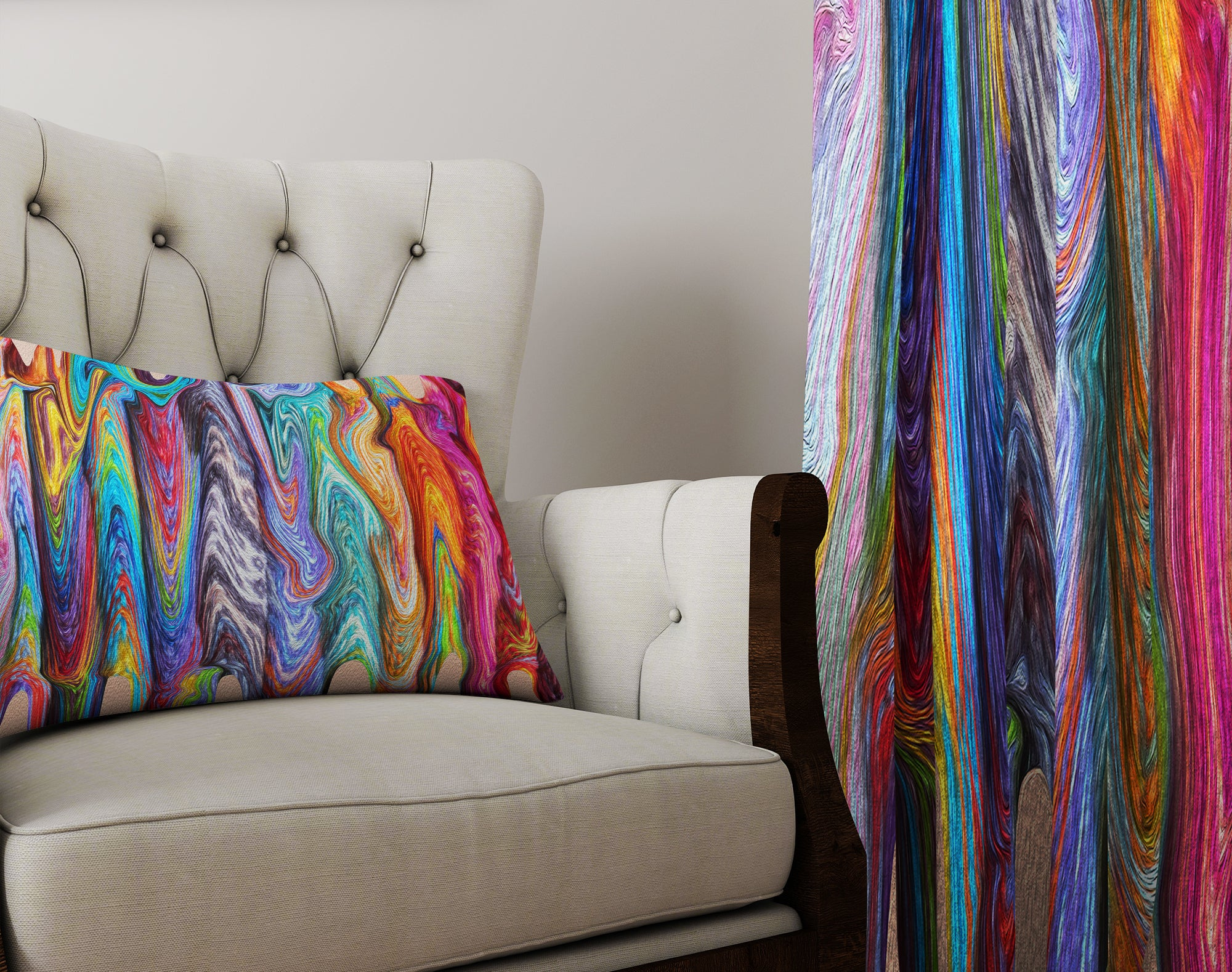 Boho Hippie Swirls Sheer and Blackout Window Curtains