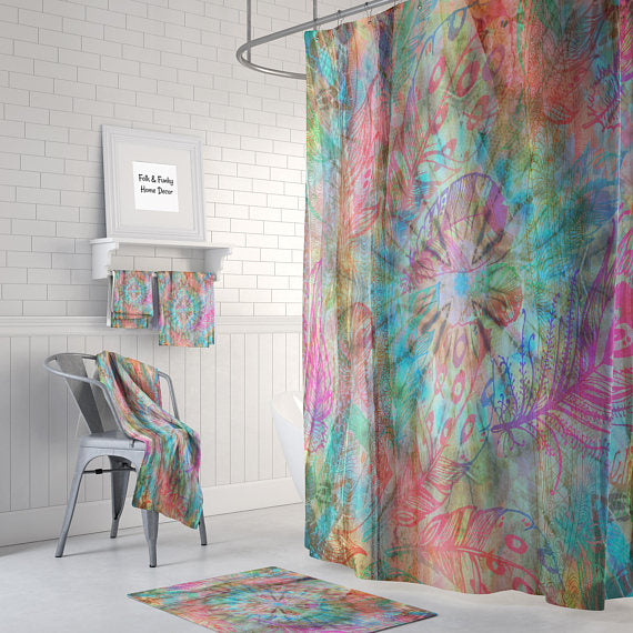The Boho Abstract Hippie Feathers Shower Curtain
