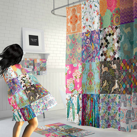 The Boho Chick Patchwork Blocks Shower Curtain