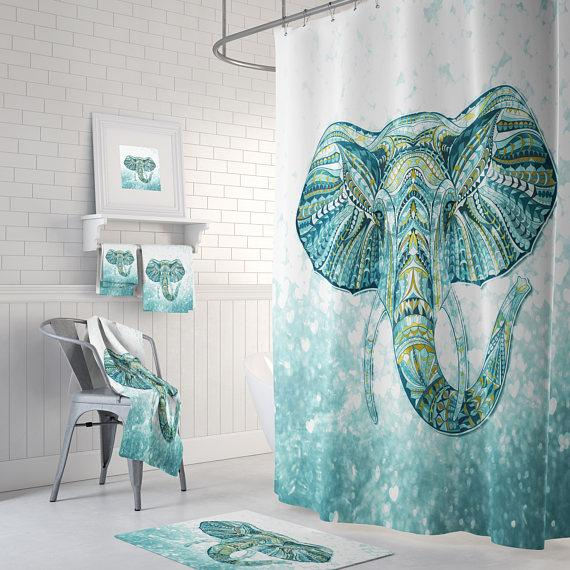 The Boho Chic Green Aqua Teal Elephant Shower Curtain
