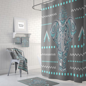 The Turquoise and Grey Elephant Shower Curtain