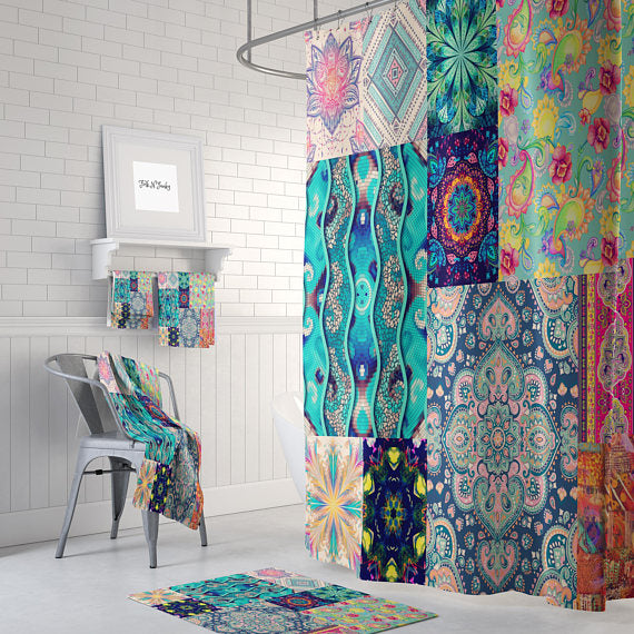 Boho Gypsy Patterns Patchwork Shower Curtain