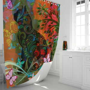 Abstract Boho Cat and Butterflies Shower Curtain