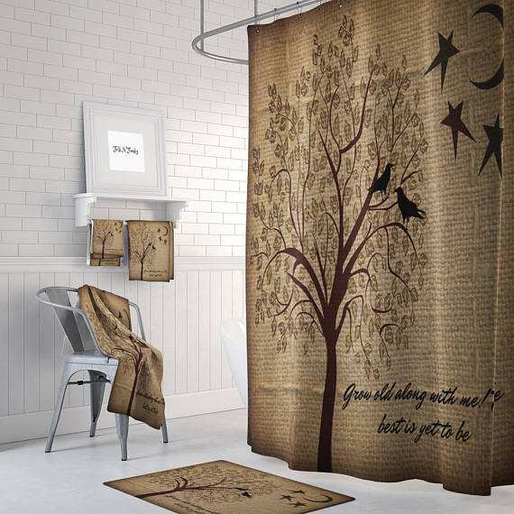 Burlap Grow Old With Me Shower Curtain Bath Mat Bath And Hand