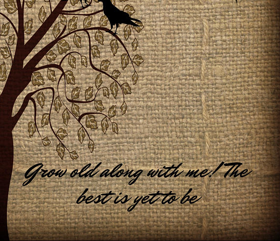Grow Old With Me Faux Burlap, Crows and a Tree Shower Curtain