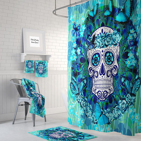 The Teal and Blue Butterflies Sugar Skull Shower Curtain