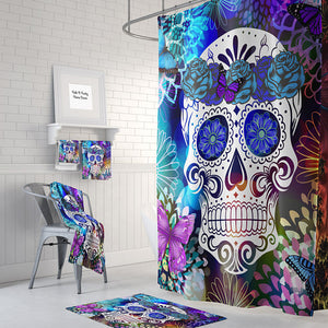The Butterfly Burst Sugar Skull Shower Curtain