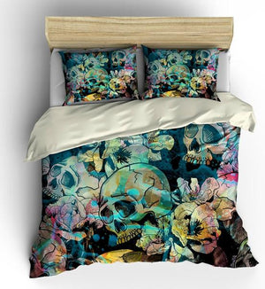 Calavera Floral Abstract Teal And Yellow Gothic Skulls Comforter or Duvet Cover Bedroom Set