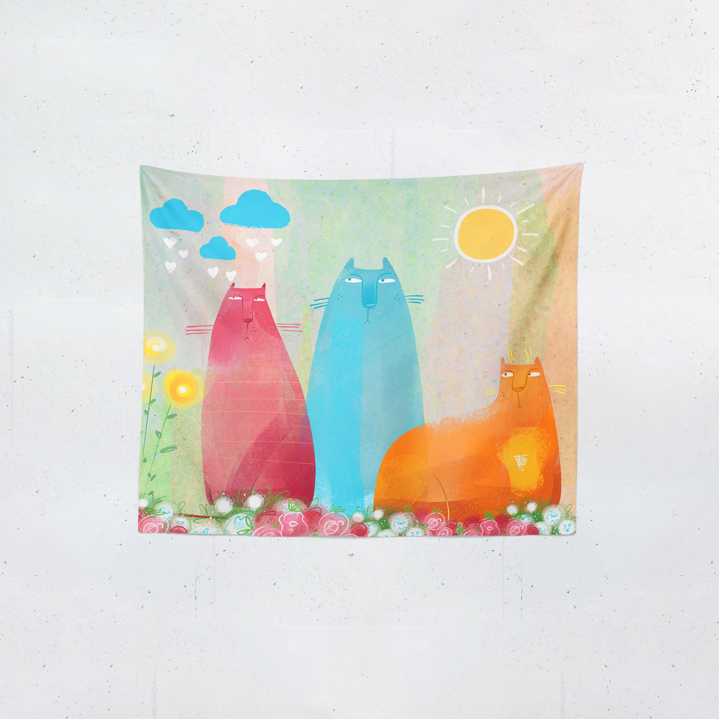 Flossies Cats Wall Tapestry
