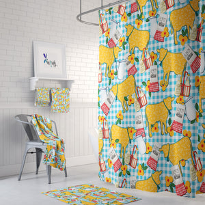 Yellow Prairie Cow Theme Shower Curtain Options Bathroom Decor