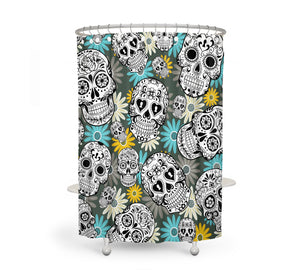 The Teal and Yellow Sugar Skull Shower Curtain