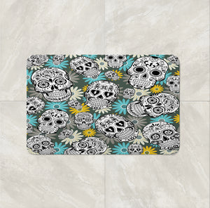 The Teal and Yellow Sugar Skull Daisy Bath Mat