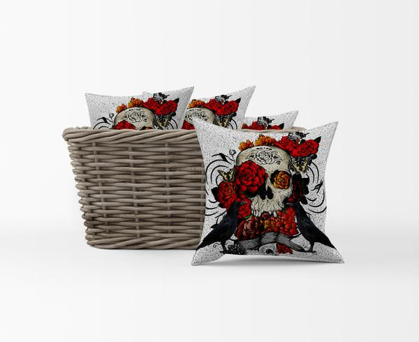 The Crows and Roses Skull Throw Pillows