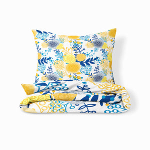 Botanical Bedding, French Country Comforter Set or Duvet Cover, Yellow and Blue Flowers