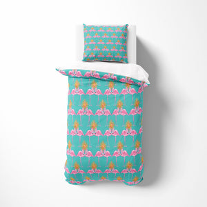 Kissing Flamingo Tropical Comforter or Duvet Cover