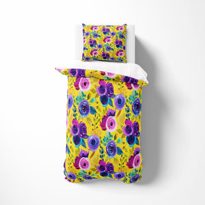 Eclectic Floral Yellow Comforter or Duvet Cover