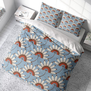 Blue Daisy Floral Comforter or Duvet Cover