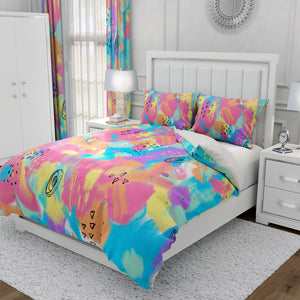 Pink Memphis Scribble Bedding