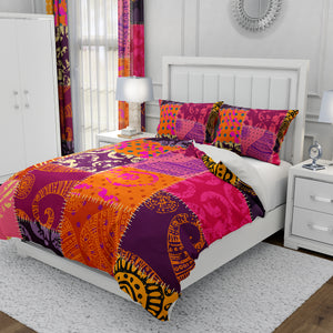 Faux Patchwork Boho Bedding