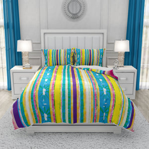 Verticle Stripes Boho Batik Bedding