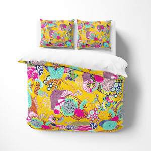 Ukiyo Yellow Floral Bedding