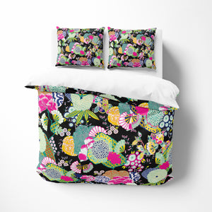 Ukiyo Black Floral Bedding