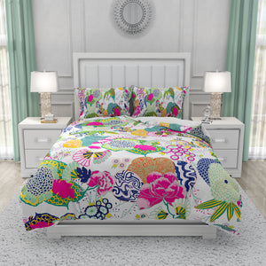 Ukiyo White Floral Bedding