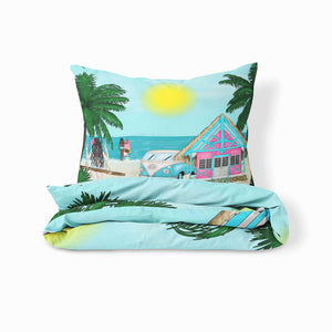 Tropical Beach Surfer Bedding Set Comforter or Duvet Cover, Twin, Full, Queen, King,