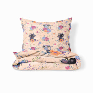 Adorable Cats and Roses Bedding Set