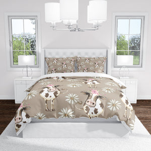 Tan Farmhouse Cow Bedding