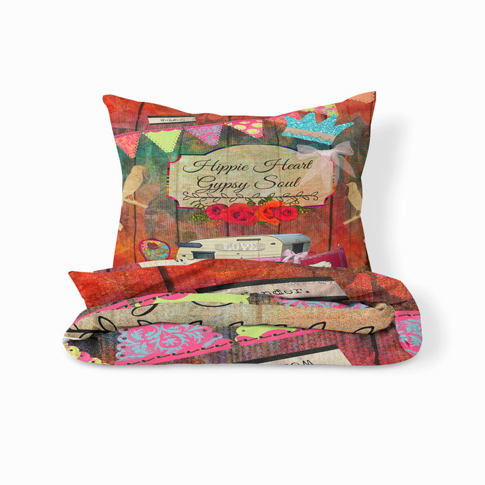 Hippie Heart Bedding Set, Retro Camper Theme