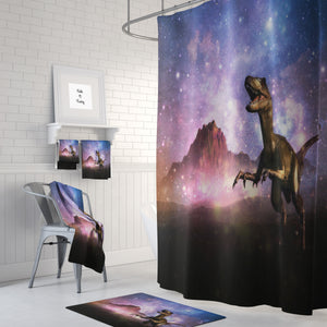 The Dinosaur In Space Shower Curtain