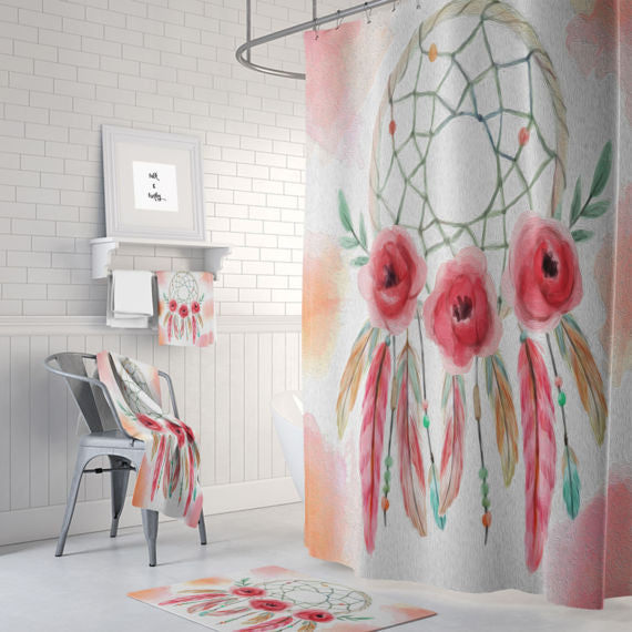 Painted Rose Dream Catcher Shower Curtain By Folk N Funky