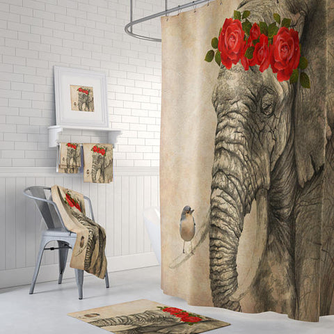 Elephant and Bird Grunge Shower Curtain by Folk N Funky