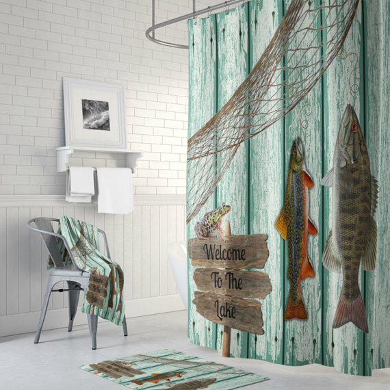 Weathered Wood Lake House Fish Shower Curtain By Folk N Funky