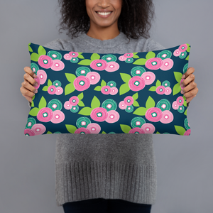 Granny Heart Floral Throw Pillow