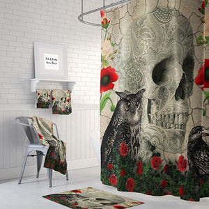 The Owl Crow and Rose Gothic Skull Shower Curtain