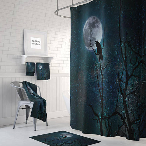 Gothic Raven Night Sky Shower Curtain by Folk N Funky