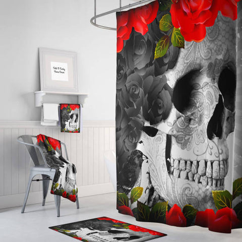 The Roses and Crows Story Gothic Skull Shower Curtain, Bath Mat & Towels