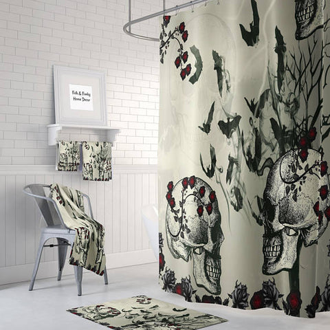 The Skulls and Bats Gothic Skull Shower Curtain