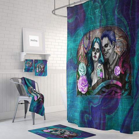 The Graffiti Art Couple Forevermore Couple Shower Curtain