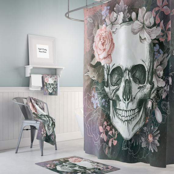 The Gray Floral Gothic Skull Shower Curtain