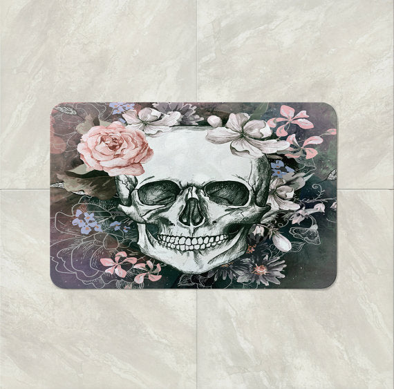 The Gray Floral Gothic Skull Bath Mat