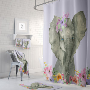 The Lavender Floral Elephant Shower Curtain, Bath and Hand Towels