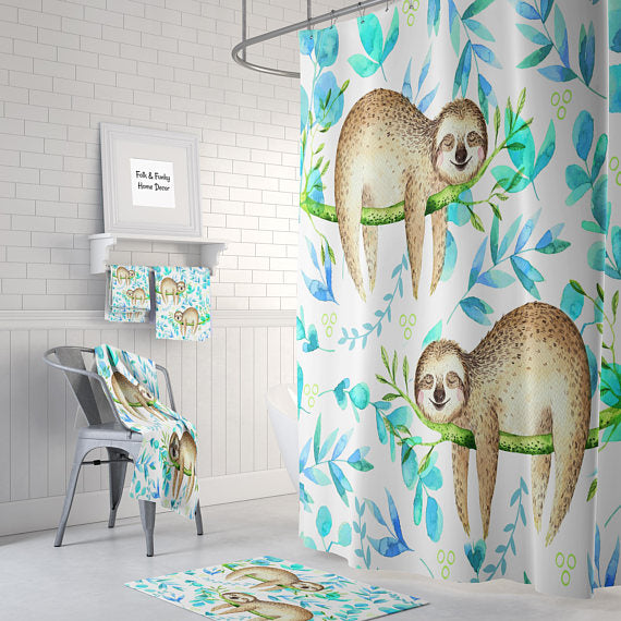 The Lazy Sleeping Sloths Shower Curtain